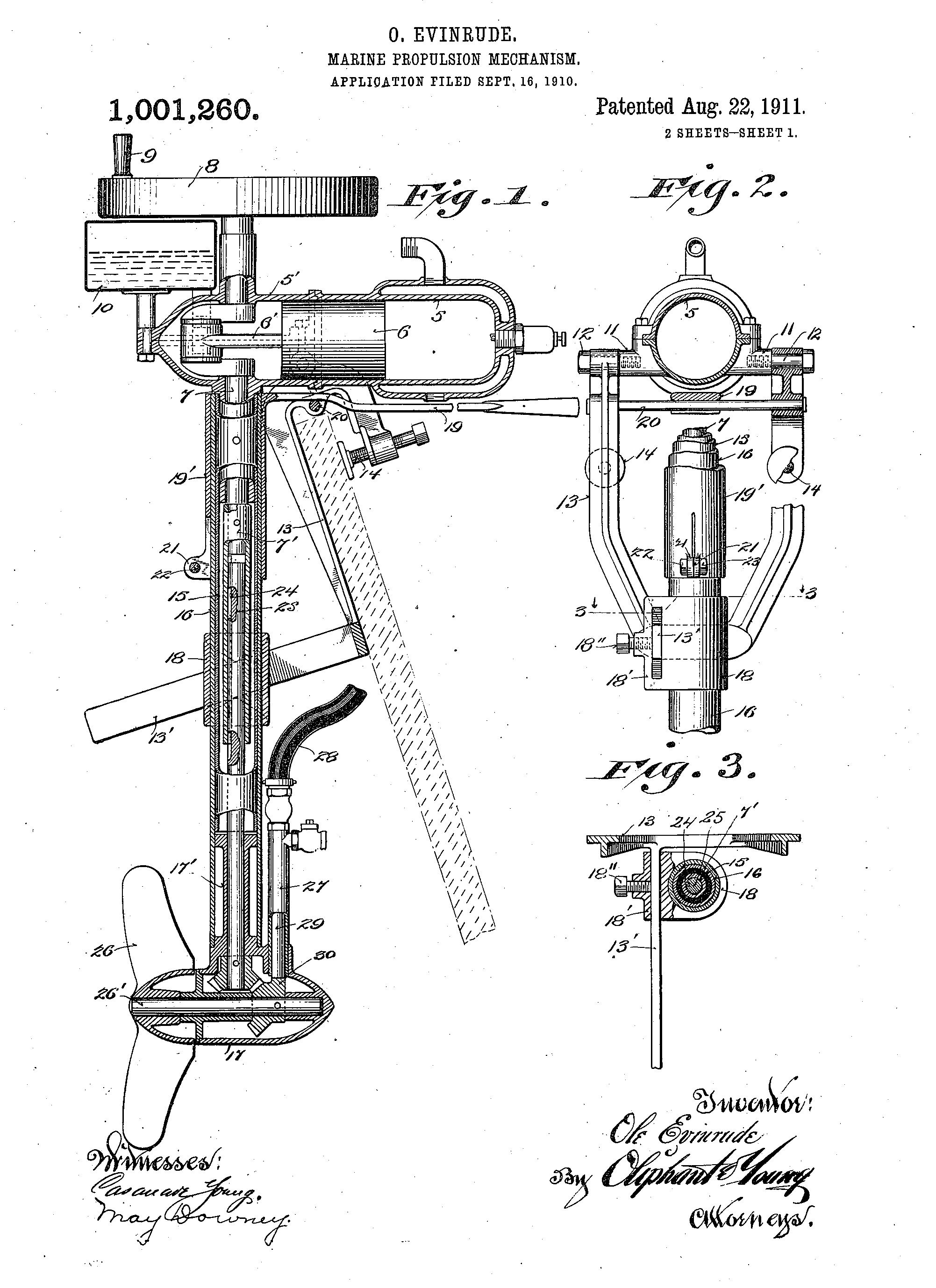 Outboard Motor Patent Drawing Ole Evinrude