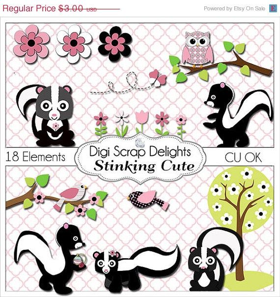 40% Off Pink and Black Stinking Cute Skunk, Owl, Bird Clip Art for Digital Scrapbooking, Card Making, Party Printables, Instant Download         December 28, 2013 at 10:09AM