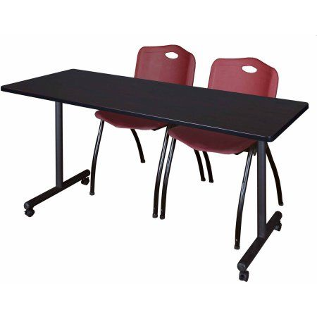 Kobe 60 inch x 24 inch Mocha Walnut Mobile Training Table and 2 'M' Stack Chairs, Multiple Colors, Red