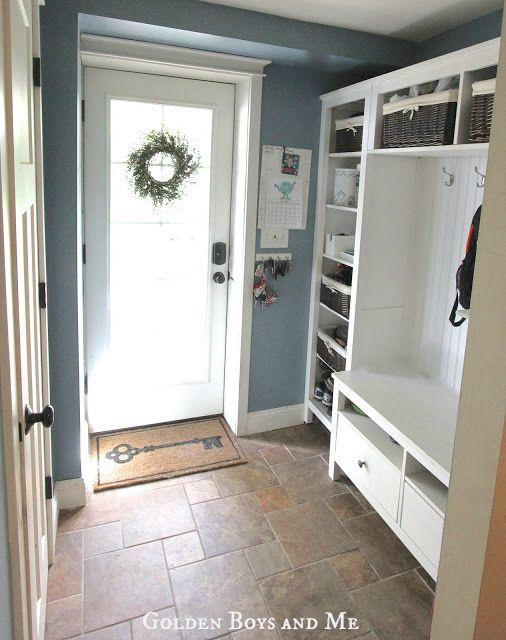 mudroom repurposed ikea hemnes bookshelves wohnen einrichten. Black Bedroom Furniture Sets. Home Design Ideas