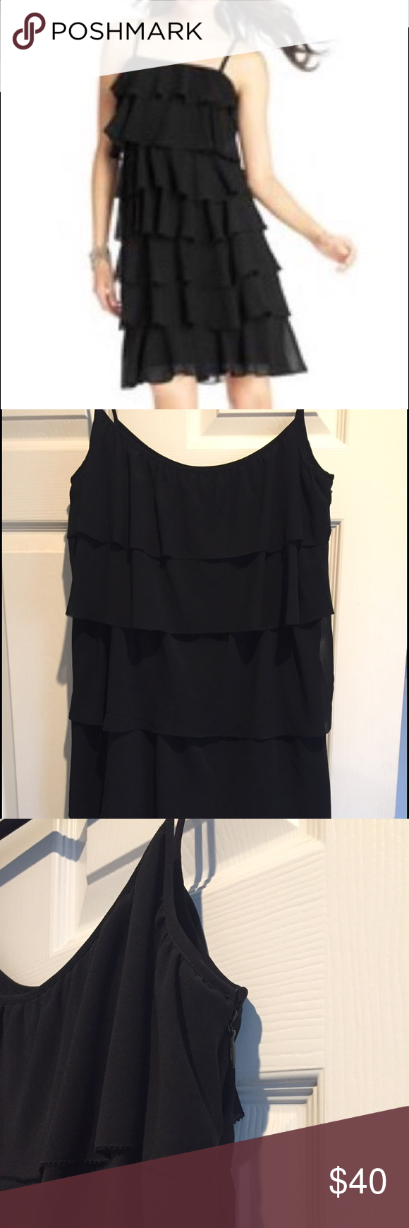 Ann Taylor Loft Tiered Ruffle Dress Black 5 tier dress, great for Holiday Parties! 100% Polyester, lined, spaghetti straps, NWT! LOFT Dresses