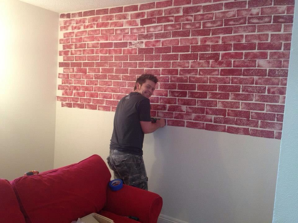 Sponge Painting A Brick Wall