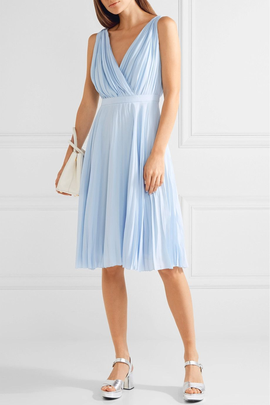 Prada | Plissé crepe de chine dress | NET-A-PORTER.COM | dress ...