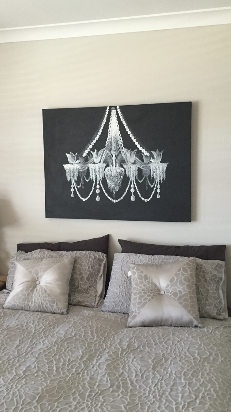 I painted a black and white Chandelier on a large canvas for the