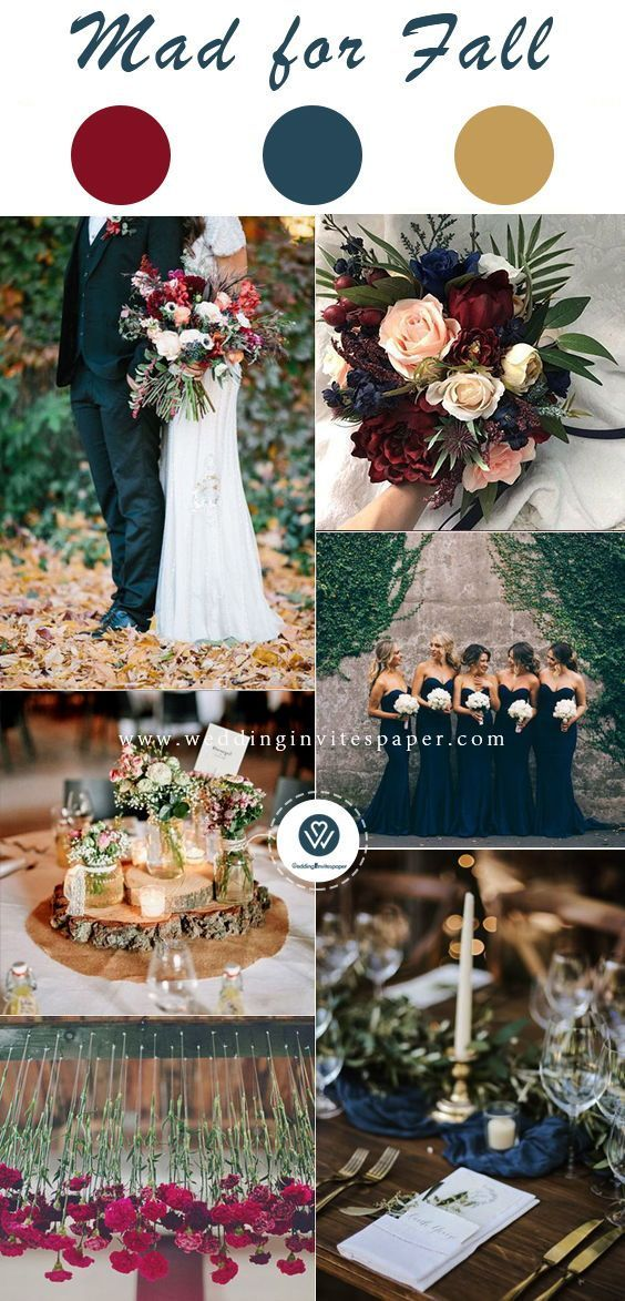 Top 8 Striking Navy Blue Wedding Color Palettes For 2019 Fall Navy And Burgundy In 2020 Fall Wedding Color Palette October Wedding Colors Fall Wedding Color Schemes