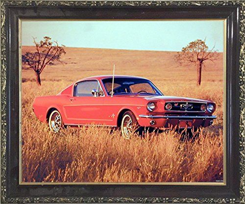 1965 Red Ford Mustang Fastback Vintage Car Mahogany Frame... https ...