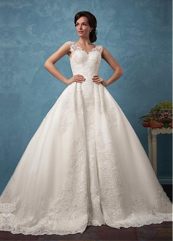 Buy discount Amazing Tulle & Satin V-Neck 2 In 1 Wedding Dresses ...