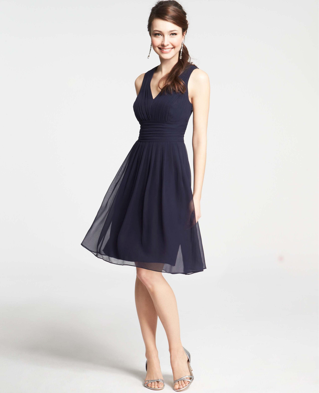 Ann taylor bridesmaid silk georgette pleat tank dress in navy ann taylor bridesmaid silk georgette pleat tank dress in navy ombrellifo Images