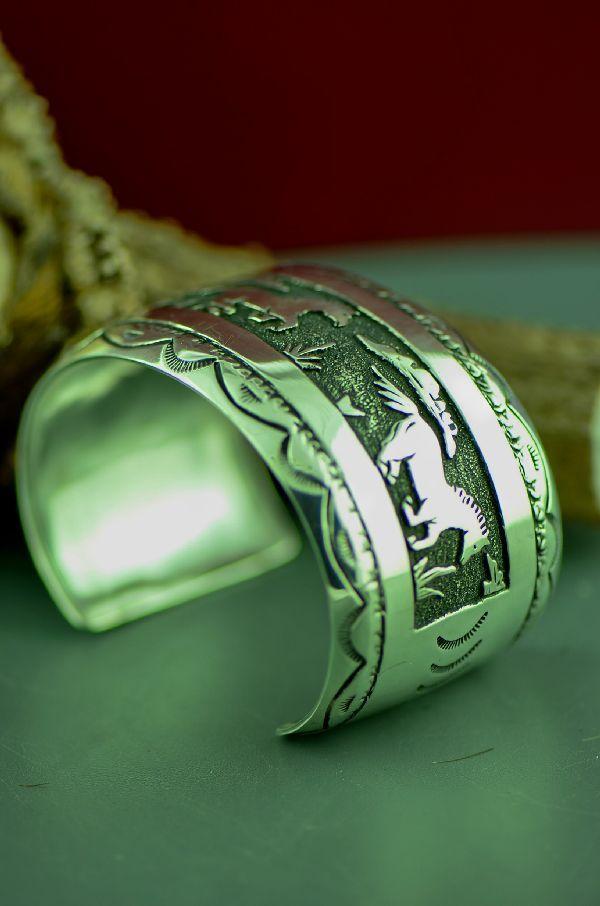 Navajo Sterling Silver Horse Bracelet By Rosita Singer