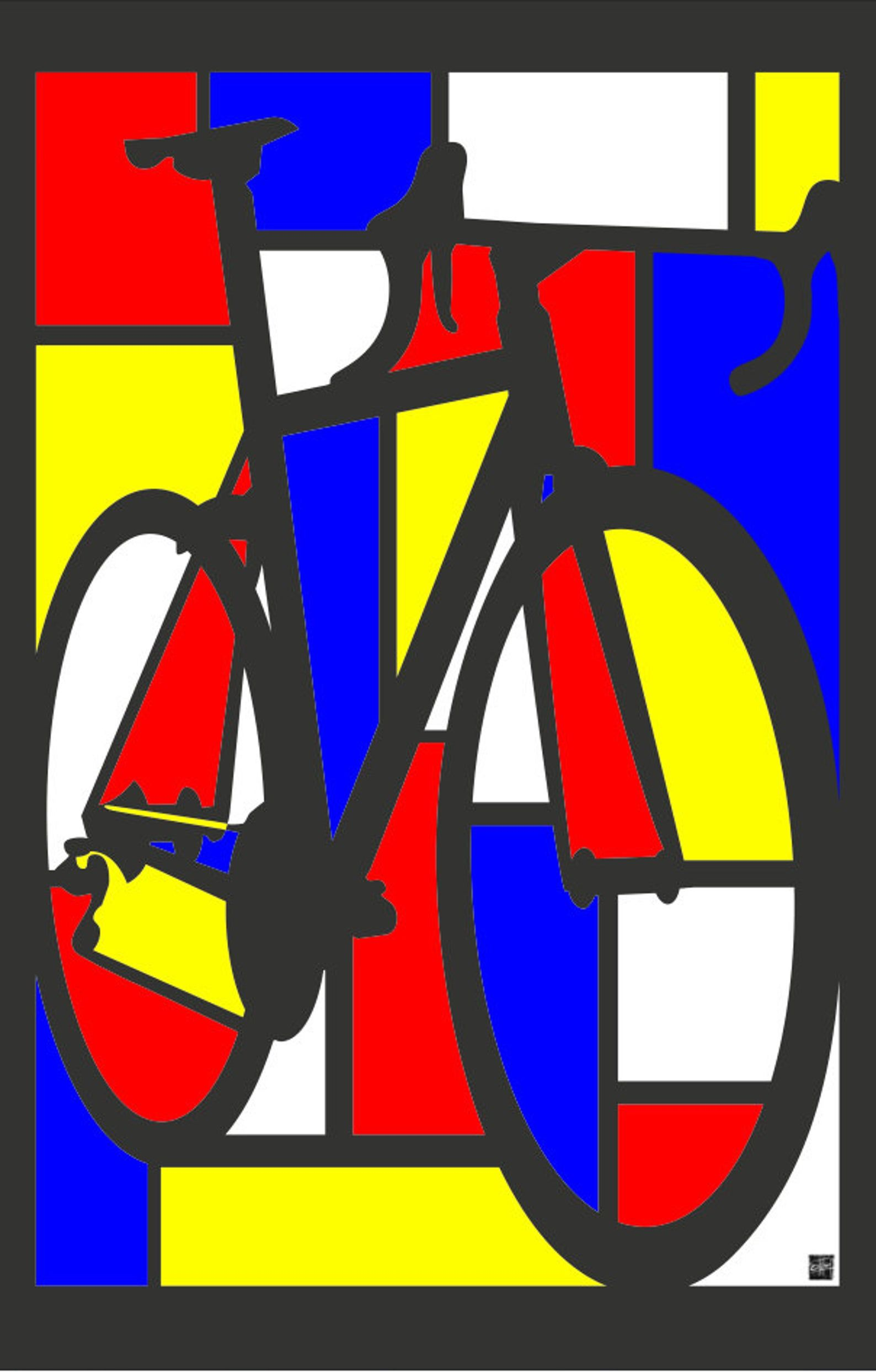 Mondrian Road Bike Art Illustration Cartel Impresion 11x17 Etsy In 2020 Bike Poster Bike Art Bike Ride