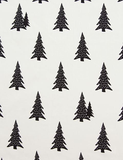 Scandinavian Style Pine Tree Black Pattern Cotton Fabric Pattern Christmas Wallpaper Christmas Interior Decor
