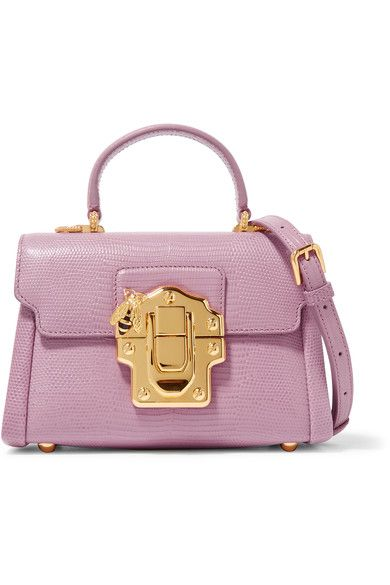 5945b7b15ce6 Dolce   Gabbana - Lucia Mini Lizard-effect Leather Shoulder Bag - Pink -  one size