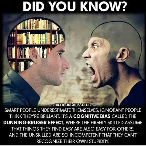 Narcissists are living proof of the Dunning-Kruger Effect ...