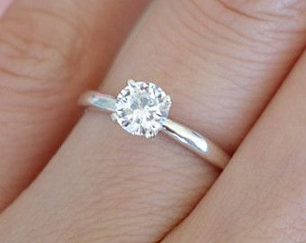 1 2 Carat 5mm Solitaire Engagement Ring 4 Prong Round Man Made Diamond Wedding Promise Simple Engagement Rings Wedding Rings Solitaire Wedding Rings Simple