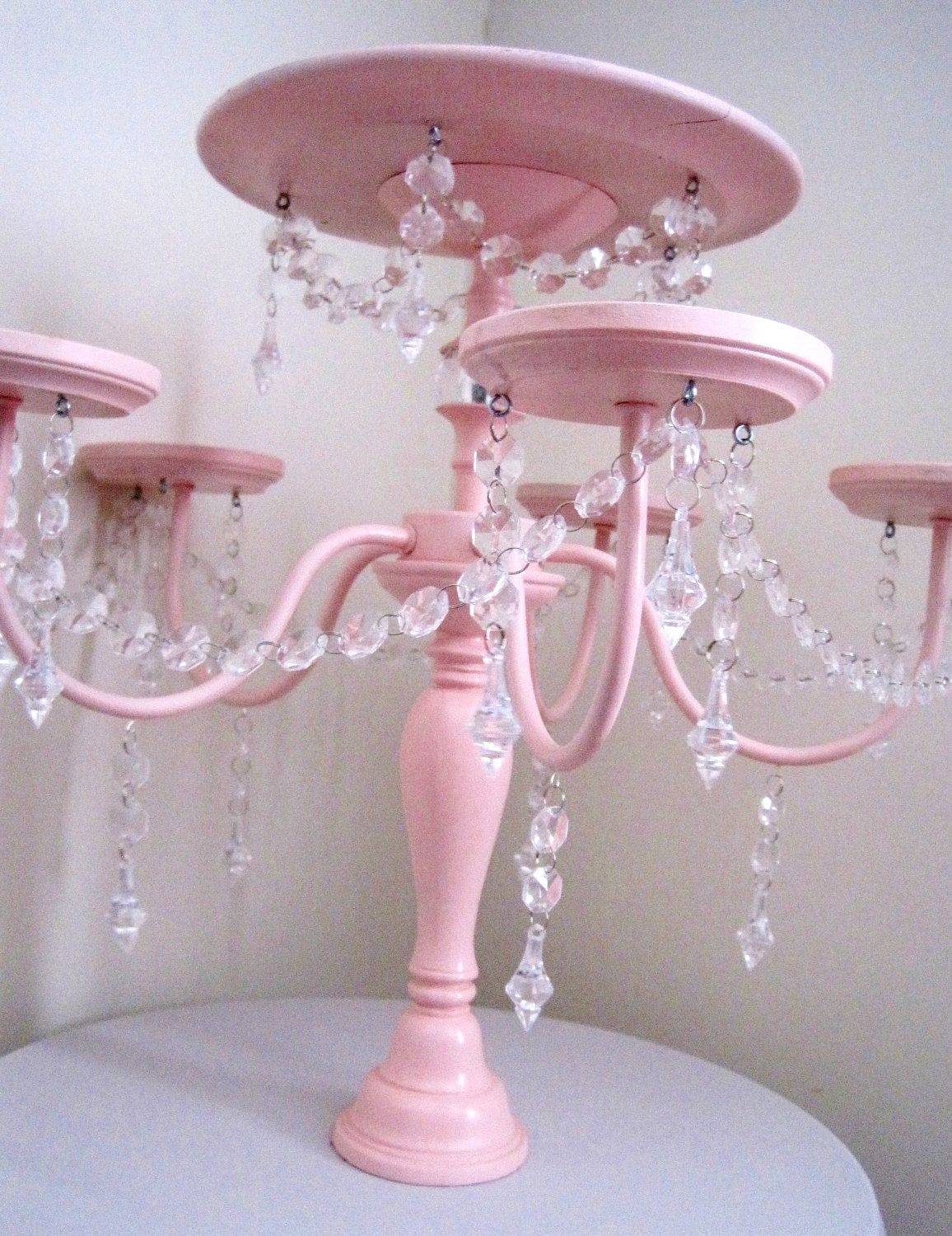Crystal Chandelier Cake And Cupcake Stand In Baby Pink Events - Cupcake chandelier stand crystals