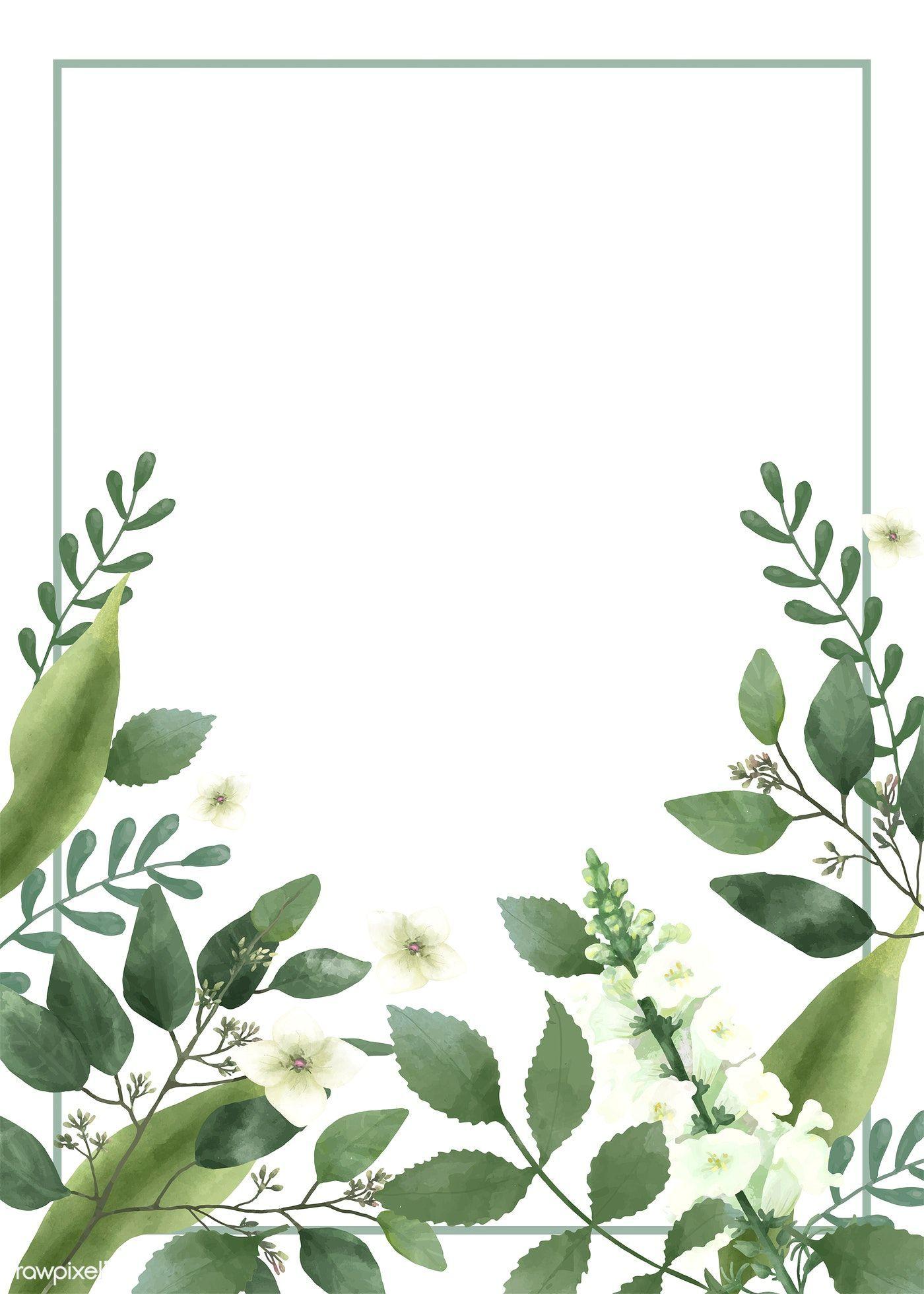 Einladung Karte Mit Einem Grunen Thema Gratis Bild Von Rawpixel Com Green Theme Floral Background Flower Backgrounds