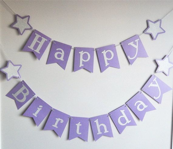 purple and silver twinkle twinkle star happy birthday banner