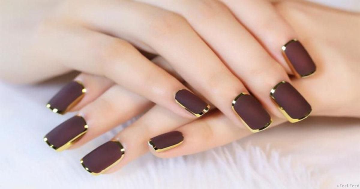 Cheap nail tips full, Buy Quality fake nail tips directly from China nail  tips short Suppliers: Hot Sale Golden Full Frame Brown False Nail Tips Full  ... - Кофе и шоколад: 20 эффектных идей для маникюра в коричневых тонах