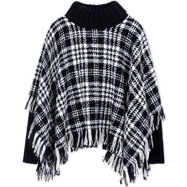 Dolce & Gabbana Fringed Tweed Turtleneck Poncho (£2,270) ❤ liked on Polyvore featuring outerwear, fringe ponchos, blue turtleneck, turtleneck poncho, turtle neck poncho and turtleneck tops