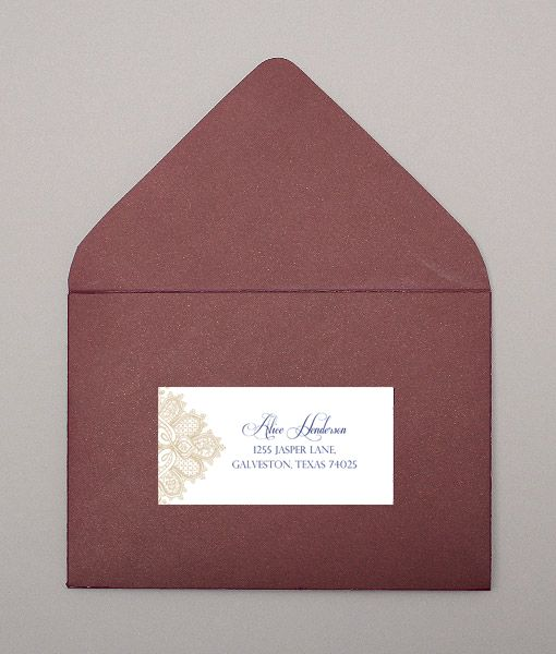 DIY wedding address labels with pearls and lace design from - address label format