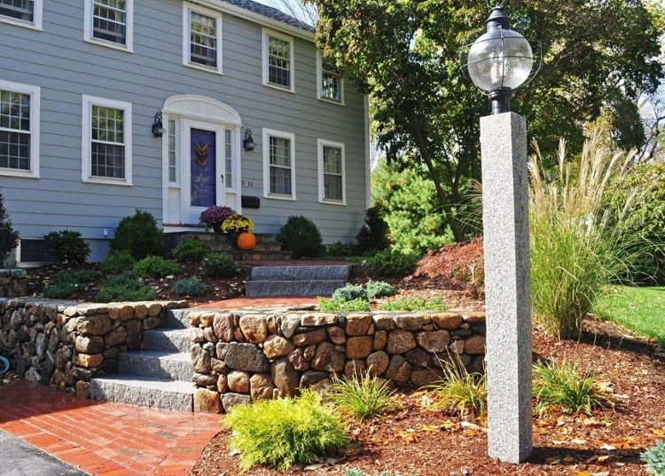 A Woodbury Gray Granite Lamp Post Installed By Seoane Landscape Design Lamp Post Rustic Fence Mailbox Posts