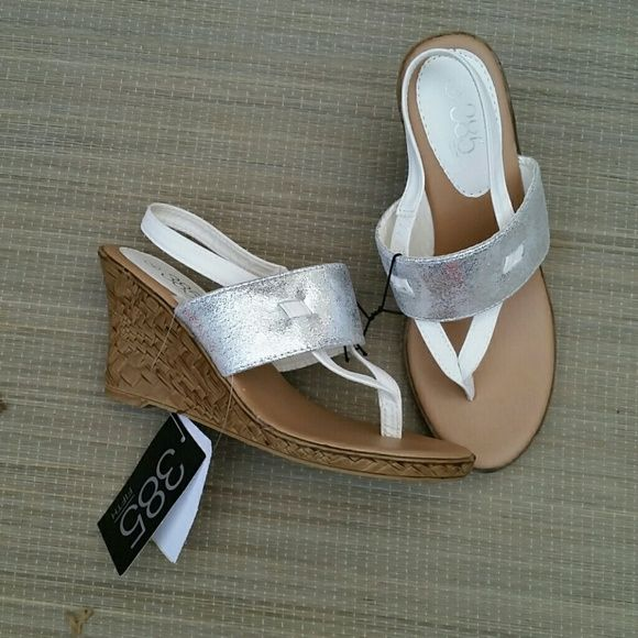 Wedge/Platform Sandals. NWT. Size:7 Size:7  Women's Wedge/ Platform Sandals by 385 Fifth  Color: White with Silver Style: Mystique **Price ABSOLUTELY FIRM unless you bundle** 385 Fifth  Shoes Sandals