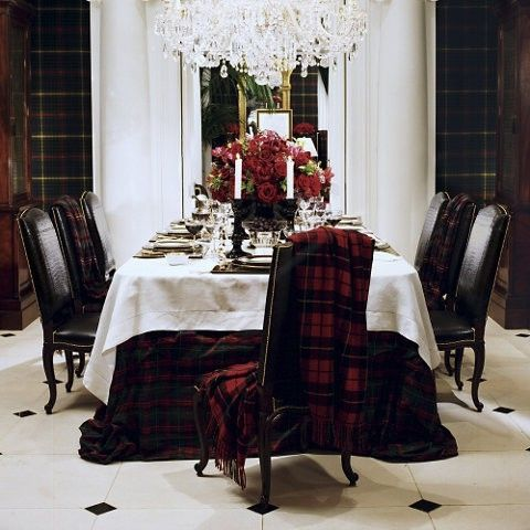 Tartan tablecloth and blankets for a winter table ralph for Ralph lauren dining room ideas