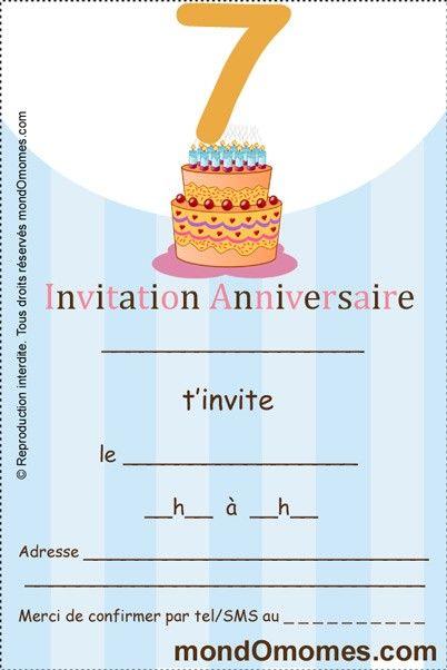 Cartes invitation anniversaire enfant 7 ans gateau - Carte anniversaire a imprimer gratuit fille ...