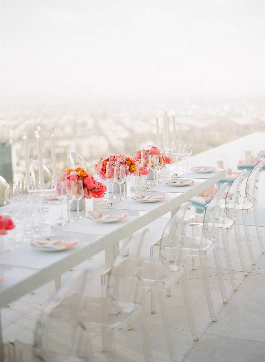 Wedding decor with ghost chairs  An th Birthday Party   birthday Chair photography and Tablescapes