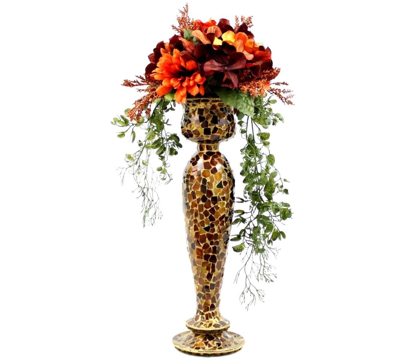 Custom Made Wedding Table Centerpiece Silk Flower Arrangement Glass