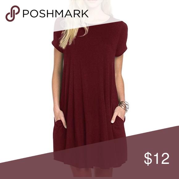 94edcecf990c Maroon Dress Maroon tunic swing dress, short sleeve with pockets, worn once  Dresses