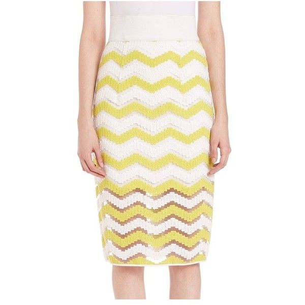 027551f92 Milly Chevron Jacquard Pencil Skirt ($136) ❤ liked on Polyvore featuring  skirts, citron, midi, high-waist skirt, high waisted skirts, white knee  length ...
