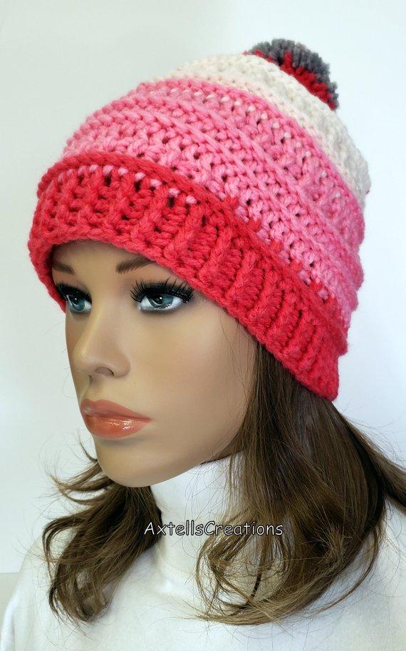 Pink Striped Pom Pom Ski Hat 87af7bd4574