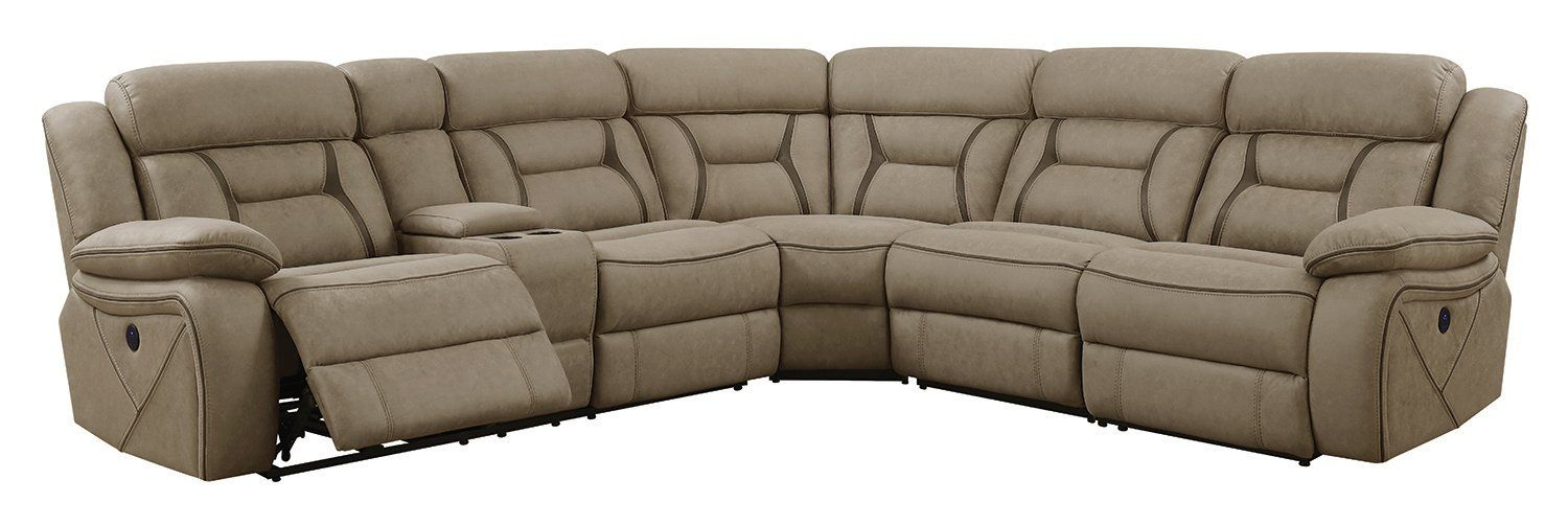 Fine Coaster Camargue Motion Tan Coated Microfiber Sectional Sofa Machost Co Dining Chair Design Ideas Machostcouk