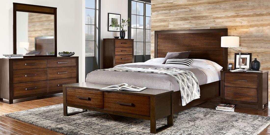 abbott hazelnut 5 pc king panel bedroom with storage