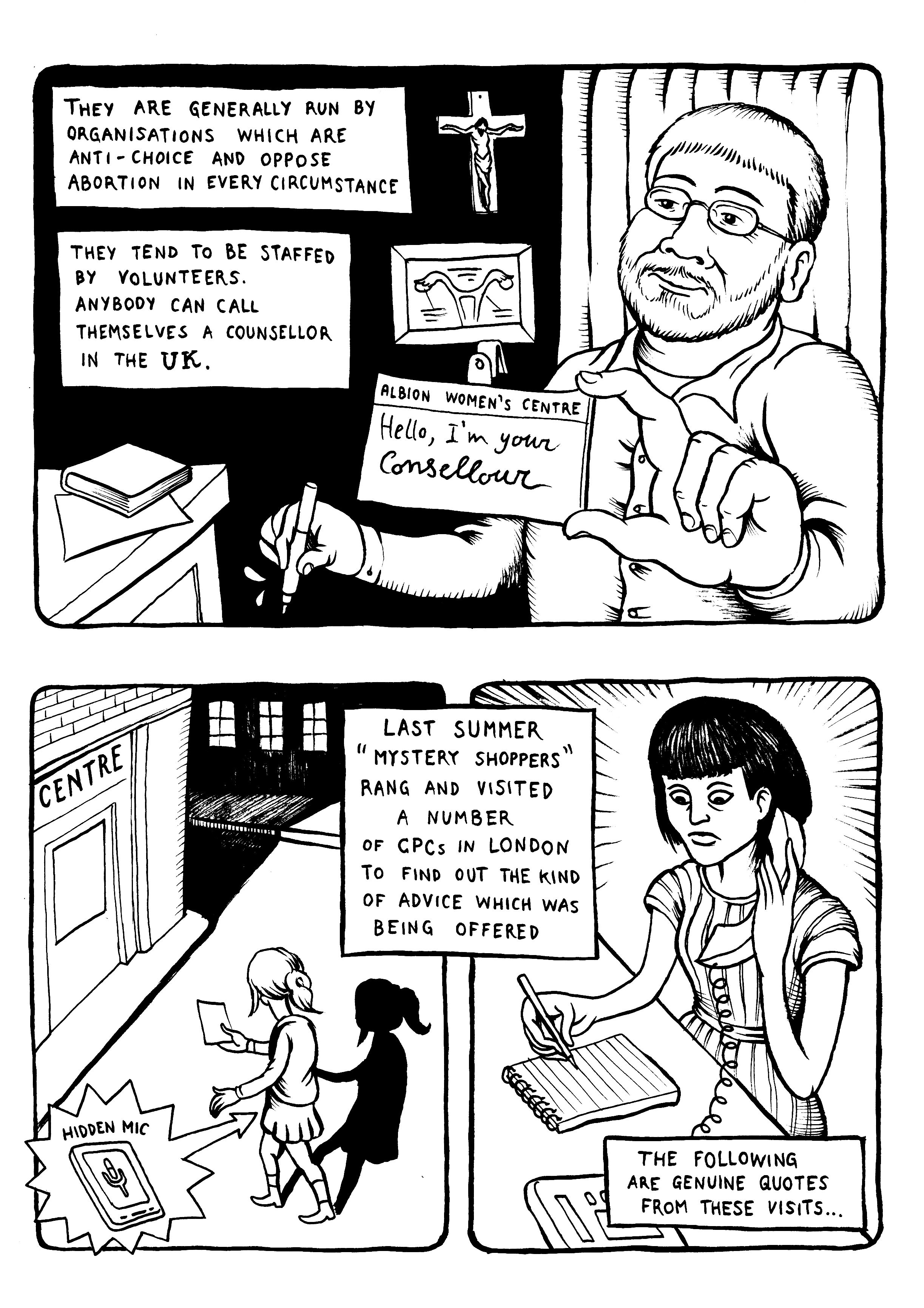 Here is a short comic about the sneaky strategies used by the anti-abortion movement in the UK. Description from matteofarinella.wordpress.com. I searched for this on bing.com/images