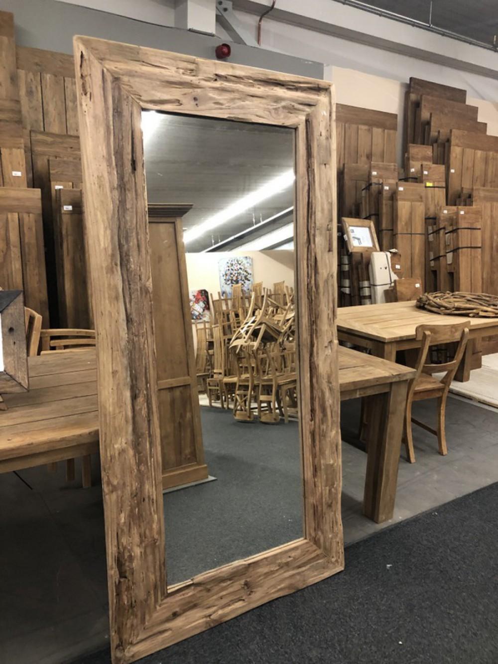 Spiegel Massivholz Teak, Wandspiegel, Maße 200 x 1