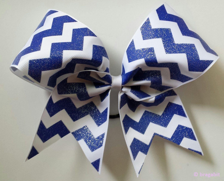 Royal blue and white chevron ribbon cheer bow | Chevron ribbon ...