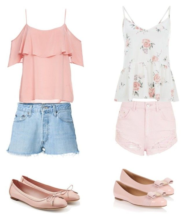 """BFFs"" by camiseta ❤ liked on Polyvore featuring Topshop, BB Dakota, RE/DONE and Salvatore Ferragamo"