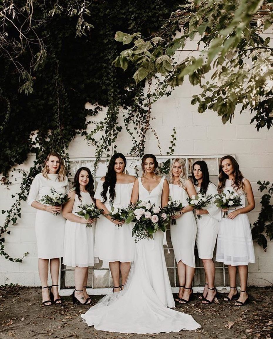 Sheath Wedding Dress With Illusion Off The Shoulder Bodice And Embroidered Lace Overlay By Re White Bridesmaid Dresses White Bridesmaid Bridesmaid Dresses Boho [ 1153 x 930 Pixel ]
