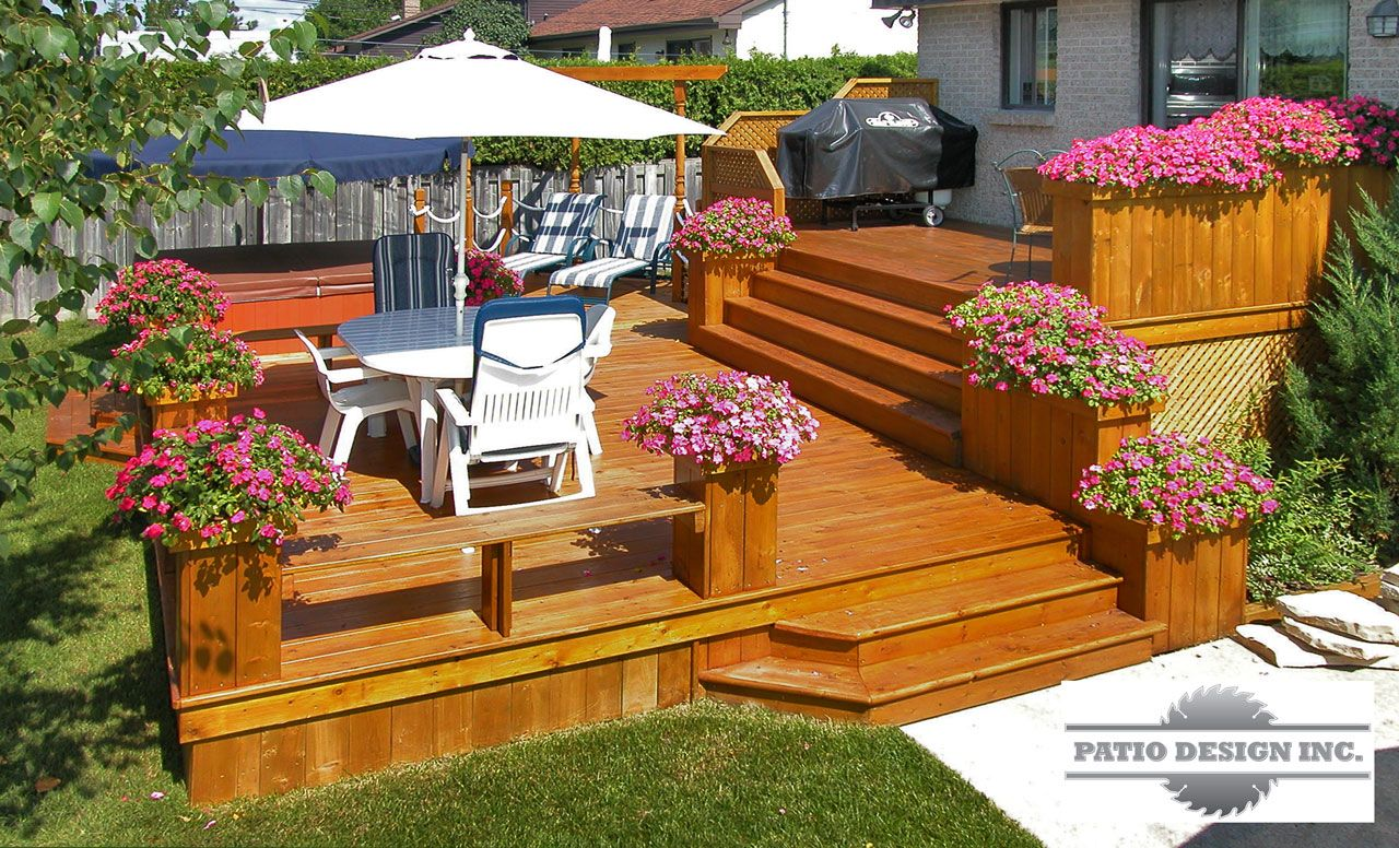 Patio avec spa plan de patio pinterest terrasses for Plan de patio exterieur en bois