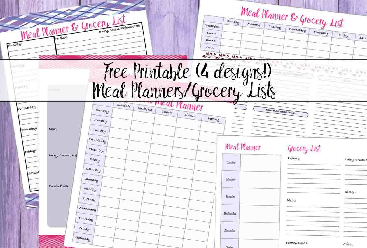 4 Free Printable Meal Planners Amp Grocery Lists Save Time