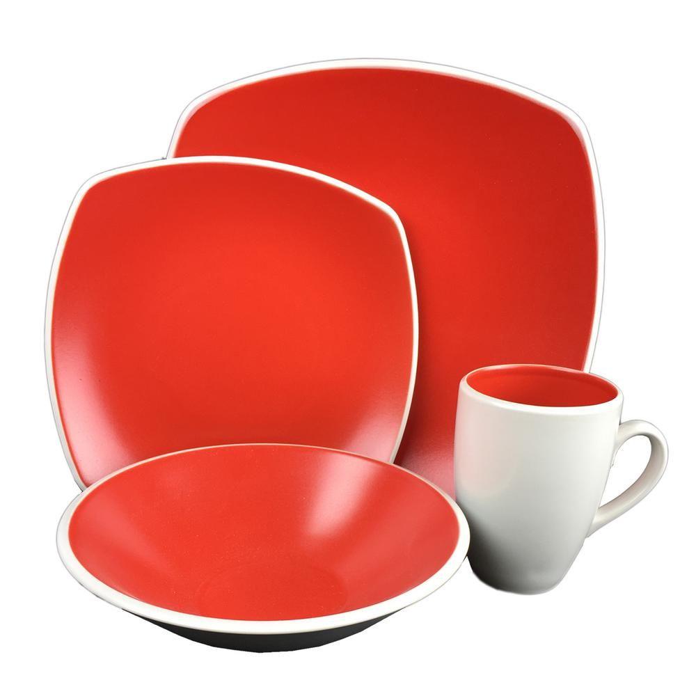 Novastone 16-Piece Red Square Dinnerware Set  sc 1 st  Pinterest & Novastone 16-Piece Red Square Dinnerware Set | Dinnerware Squares ...