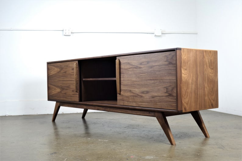 Walnut Media Console Midcentury Modern Handmade Credenza Etsy In 2020 Wooden Tv Stands Media Console Wooden Tv Cabinet