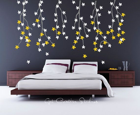 Tree Branches Decal Nature Wall Decal Flowers Spring Decor Bedroom - Yellow flower wall decals