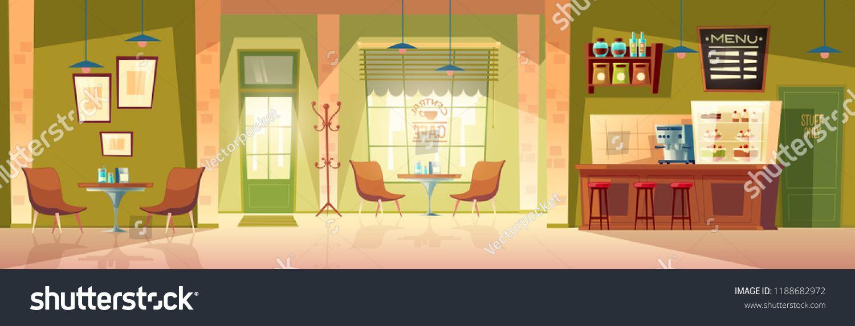 Vector Cartoon Cafe Room Cozy Interior With Coffee Machine