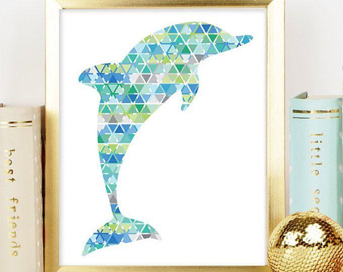 Blue Dolphin Print Geometric Dolphin Decor Poster Printable Art Beach Art Print Sea Life