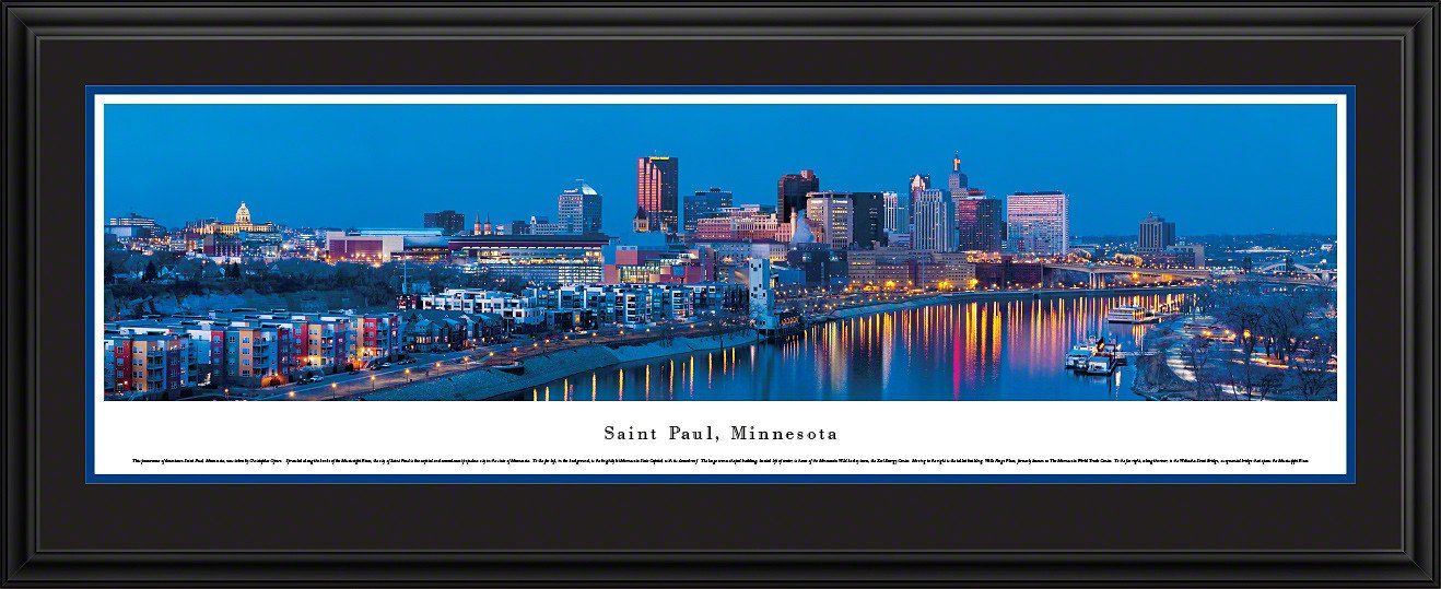 Saint Paul Skyline Panoramic, Minnesota Picture Framed