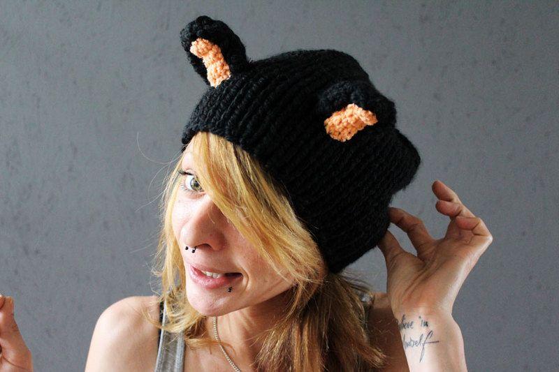 UrbanBeanie MIAU,Gr.S/M, schwarz/apricot von strickjackenmädchen auf DaWanda.com