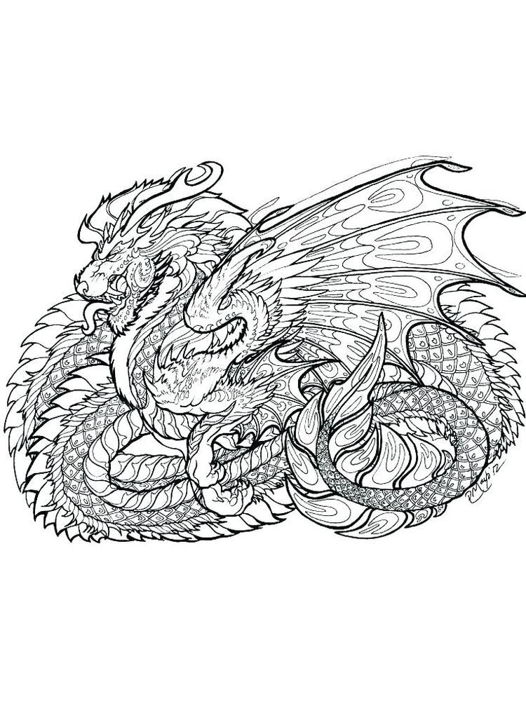 Dragon Hard Image Coloring Pages Free